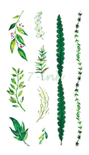 Waterproof Temporary Tattoo sticker green leaves chain tattoo Water Transfer fake tattoo 10.5*6 cm for gril woman