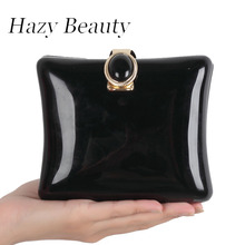 Hazy beauty trendy women evening bag acrylic material classical black jewelry buckle open lady party purse super chic bag A255(China)