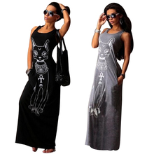 2017 Summer Fashion Women Dress Shirt Casual Beach Sleeveless Cat Print Boho Long Maxi Party Bodycon Dresses Ladies Robe Vintage