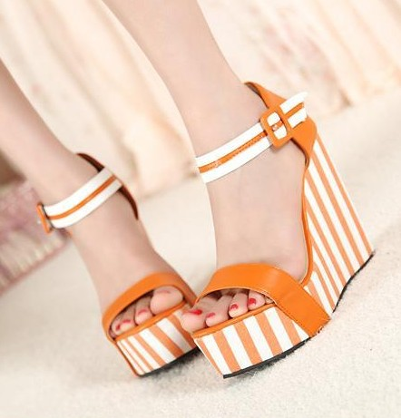 women high heel sandal 2017 new summer wedges shoes platform striped sandal 30 31 32 33 41 42 43<br><br>Aliexpress