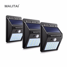8 / 16 / 20 LED Solar light Powered Panel Waterproof PIR Motion Sensor Wall lamp Yard Fence Outdoor Path Street Garden lighting(China)