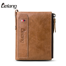 LIELANG Men Wallets Genuine Cow Leather Mens Purse Fashion Coin Pocket Small Zipper Men Walet High Quality Male Card ID Holder