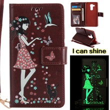 Luminous Brown Card Slot Wallet PU Leather Stand Flip Case Cover For Huawei NOVA PLUS