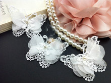5 yard(50pcs) 5x6.5cm wide ivory chiffon butterfly beads appliques tapes lace trim ribbon free ship(China)