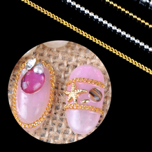 Hot Sale 1M Nail Art Stickers Tips Metal Glitter Striping Chain Decorations Nail Art Tools Gold silver colors(China)
