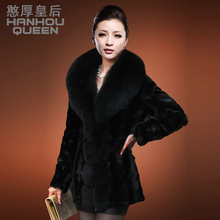 Factory wholesale NEW Ladies' Mink coat,Elegant women's fox fur collar Mink fur coat Plus size mink overcoat FQ0809
