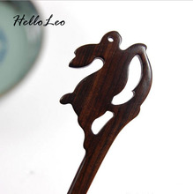 Retro Chinese Hand-carved Rabbit Hair stick with natural fragrance Handmade vintage Women jewelry Chinese Bob Gift for women