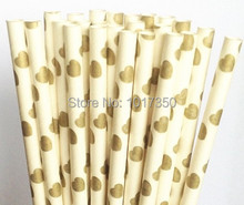 Golden hearts paper straws Valentine Christmas party favors drinking straw toppers Baby Shower,Event Birthday party decor 75pcs(China)