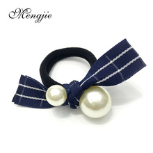 blue plaid hair accessories headband for women with super big imitation pearls twisted hair ornaments elastic hair bands 8037(China)