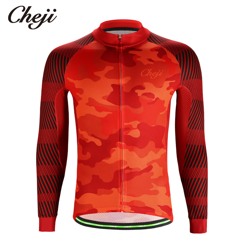 CHEJI Camouflage Red Mens Long Sleeves Cycling Jer...