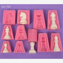 12pcs/set International Chess King Queen Knight Rook Pawn Bishop Double-Sided Fondant Cake Chocolate Molds Kitchen Baking E337(China)