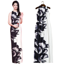 2017 Fall Fashion feather print black and white dress o-neck sleeveless floor length bodycon sheath dress ladies maxi dresses(China)