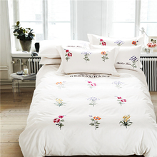 White Embroidery Cotton color flowers Bedding Sets Luxury Duvet Cover Set princess Queen King size wedding Bedclothes Bed Linen
