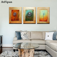 AtFipan Dong Unframed 3 Panel Handmade High Quality Color Abstract Colorful Wall Decor Oil Painting On Canvas(China)