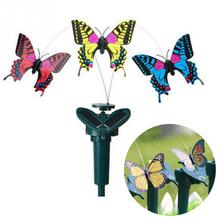 New Vibration Solar Power Dancing Flying Fluttering Butterflies Hummingbird Garden Decor(China)