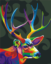 DIY oil painting colorful deer acrylic paint color, digital oil painting living room bedroom decoration wall art animal gifts(China)