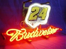 "NEON SIGN board For Budweiser Autographed Nascar #24 Racing Car GLASS Tube BEER BAR PUB store display Shop Light Signs 17*14""(China)"