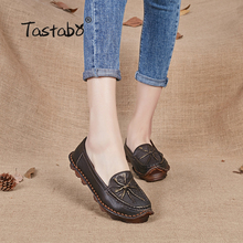Tastabo Women spring shoes genuine leather oxfords cow muscle outsole flat shoes women female leather moccasins Handmade Shoes(China)