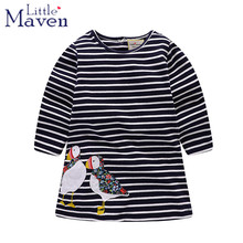 Little Maven Cartoon stripe Long Sleeve Kids Dresses For Girls Spring Fall Good Quality Girls Clothes Children Dresses 1-6 Years