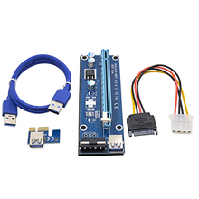 Blue VER006 60CM PCI Express PCI-E 1x to 16x Riser Card Extender + USB 3.0 Cable / SATA to IDE Power Cord for Bitcoin Mining