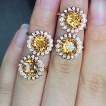 Natural citrine Ring Natural yellow crystal Ring 925Sterling Silver trendy trend Luxury Sunflower women's Party fine Jewelry