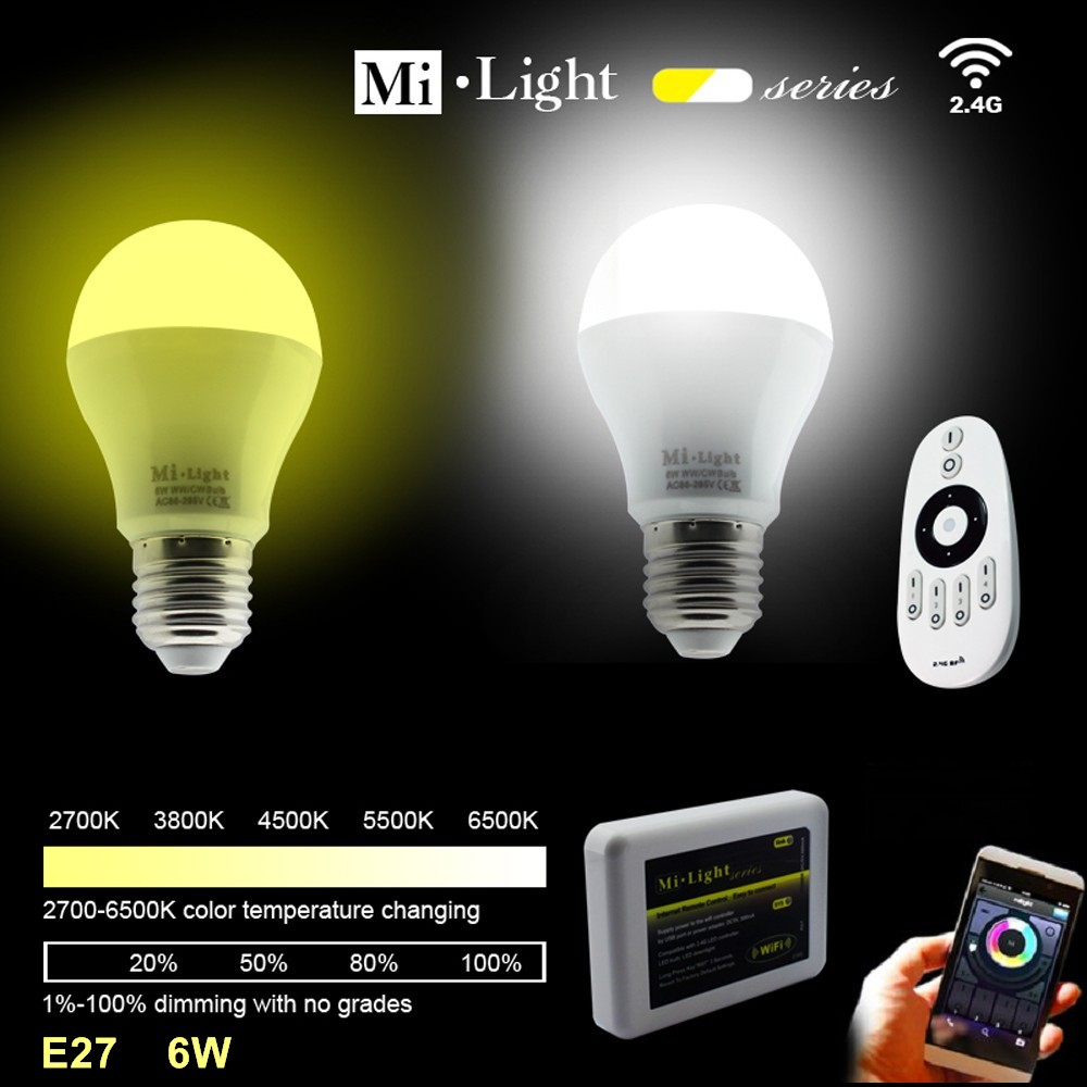 AC85-265V 2.4G E27 6W Color Temperature Adjustable Dual White(CW/WW) CCT LED Bulb+4Zone RF Wireless Touch Remote+WiFi Controller<br>
