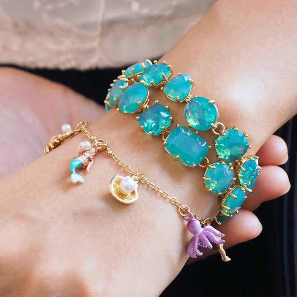 2018 Ocean Collection Enamel Glaze Pearls Mermaid Fan-shaped