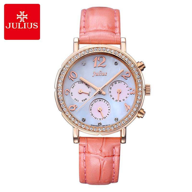 Real Multi-functions Womens Watch Big Fashion Hours Sport Clock Leather Auto Date School Girls Valentine Gift Julius Box <br>