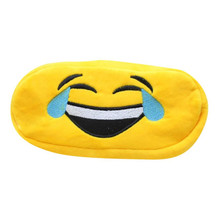 Yellow Emoji Velvet Pencil Bag Kids Student Gift Cute emotion Cosmetic Makeup Travel Pouch Pack Pens case holder Storage Bags(China)