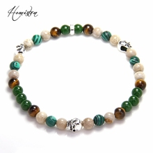 Thomas 6mm Colorful Material Mix Featuring Green Small Skull Bead Bracelet, Stamp Glam Jewelry Soul Gift for Women TS B596