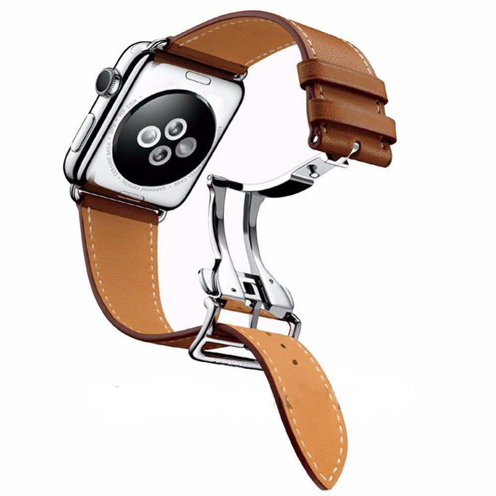DAHASE Deployment Buckle Single Tour Genuine Leather Band for Apple Watch Series 3 Wrist Strap for iWatch 1/2/3 Watchband<br>