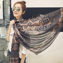 Charming Printed Cotton Shawl Soft Winter Warm Scarf Wrap Big Printing Scarves Wonderful Gift 6 Colors 190cm*65cm(China)