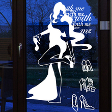Car Clothing Shoes Store Decal Sexy Lady Girls Glass Wall Sticker Clothing Shoes Store Decal Cloakroom Showcase Decor(China)