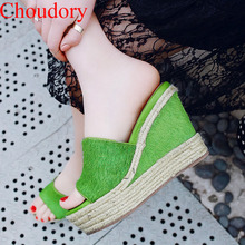 Sexy Vacation Girl's Horse Hair Straw Rope Braided Platform Wedges High heels Slipper Sandals Peep toe Woman Summer Slide Shoes