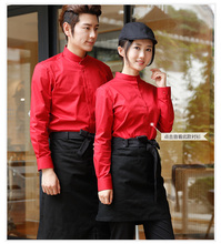 Aprons Men and women cotton canvas Korean version of the thick anti - fouling coffee shop coffee shop coffee shop embroidery