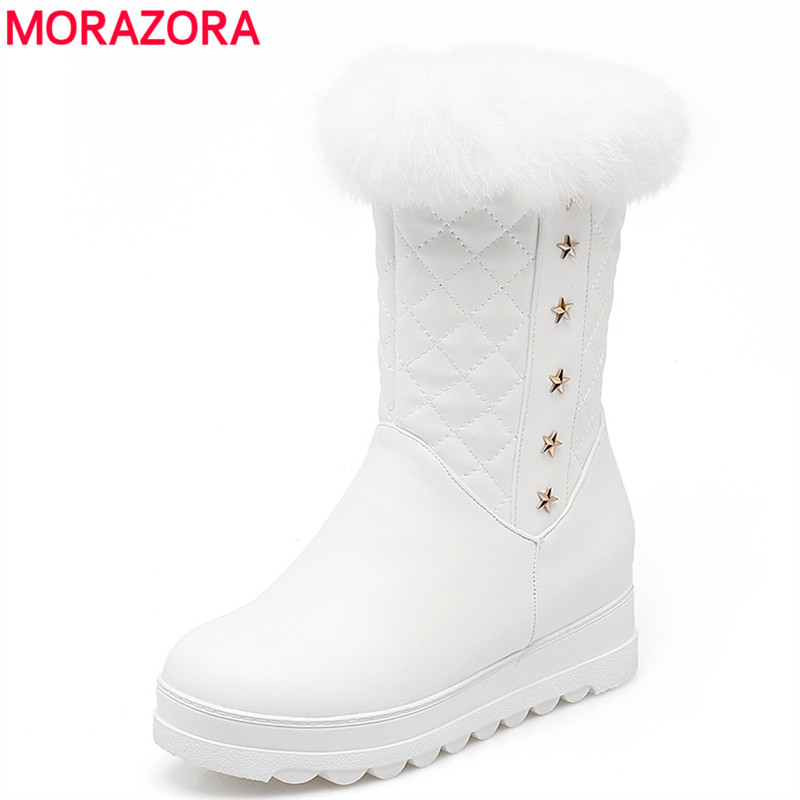 MORAZORA Plus size 34-43 new keep warm ankle snow boots round toe PU soft leather platform shoes woman sweet women winter boots<br>