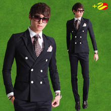 2016 New Fashion Brand Men Blazer Men Double-breasted Suit Set Casual High-quality Slim Fit Suits Groom Wedding Dress Men Suit(China)