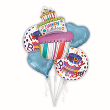 5pcs Birthday cake foil balloons helium balloon globos inflatable happy birthday balloons air balls party supplies baby shower