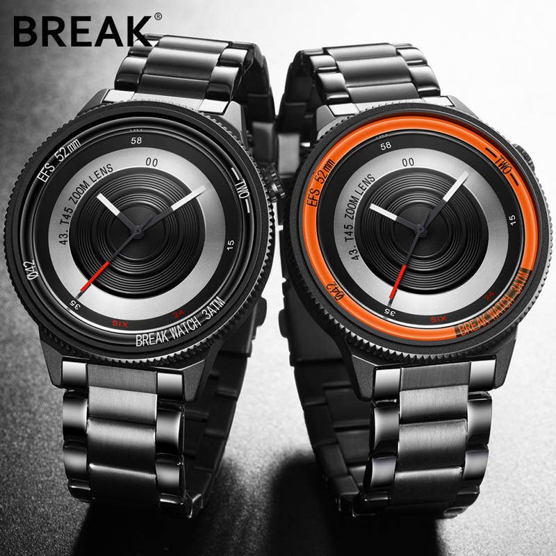 BREAK Luxury Brand Rubber Band New Fashion Casual Men Women Unisex Waterproof Quartz Wristwatches Unique Creative Sports Watches