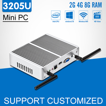 Intel Mini PC Celeron 3205U Dual Core Fanless Mini Computer Windows 10 300M wi-fi HDMI HTPC Android TV Box Office Desktop