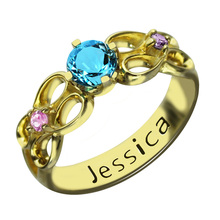 Engraved Secret Message Ring Personalized Infinity Birthstone Ring Gold Color Hand Stamped Name Ring Birthstone Jewelry