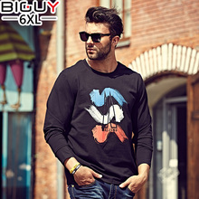 Big Guy Store XL-6XL Korean Men T-shirt  Long Sleeve 2017 Spring Autumn New Arrive Mens Clothing Cotton Casual Male Shirt 1264