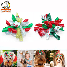 10pcs Christmas Dog Hair Bow Handmade Fashion Hair Bowknot Festival Pets Grooming Small Dogs Long Hair Yorkie Pet Accessories(China)