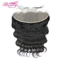 [Berrys fashion]TRANSPARENT Body Wave Lace Frontal 13x4 inch Brazilian Remy Hair Extensions Baby Bleached Knots 10-20 - berrys fashion official store