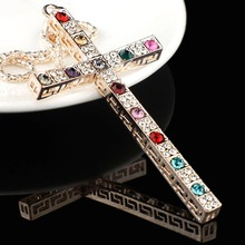 Gallant Multicolor Crystal Cross Necklace For Women Filled 2017 Long Sweater Chain Necklaces Pendants M218