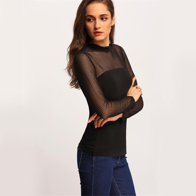 COLROVIE Mock Neck Vertical Mesh Blouse Women Semi Sheer Patchwork Sexy Tops Fall 2017 Fashion Black Basic Elegant Slim Blouse 11