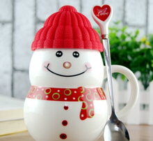 3 Sets Ceramic Cups Bbone China Snowman Cartoon Cute Mug Cup with Covers Spoons Christmas presents
