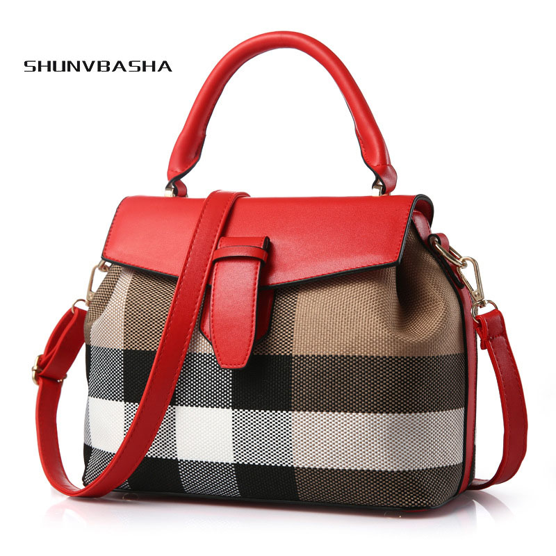 Women grid messenger bags fashion bucket  PU Leather Shoulder Crossbody Bag Ladies Tote Square Messenger Bag Female Flap Bags<br>