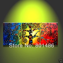 Free shipping! Handpainted abstract canvas wall painting tree 3 panels No Frame Artworks for cute decoration