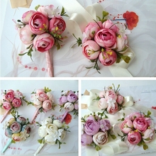 Prom  Customize Silk Artificial Daisy Rose Boutonniere Corsage Wrist Flower in Wedding Church Decor Pink F428